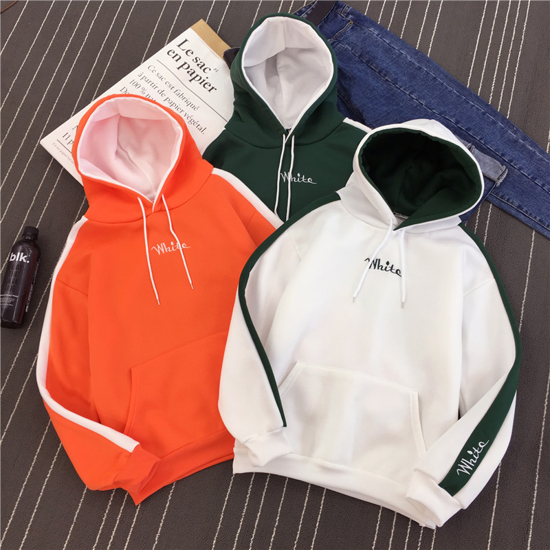2018 Korean New Women Hoodies Embroidered Letters Long Sleeve Casual Hooded Sweatshirt Women Fashion Women Coat Moleton Feminino