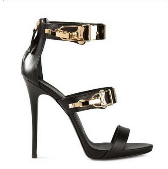 2017 Summer Hot Selling Sexy Lady Black Leather Gold Sequined High Heel Sandals Peep Toe Cut-out Ankle Strap Shoes Free Shipping hot selling beige black suede fringed platform sandal thick heel summer ankle strap women sandals peep toe cut out dress shoes
