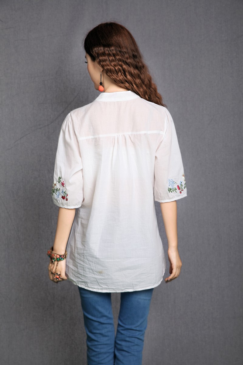 Hot Sale Vintage 70s Peasant Mexican Ethnic Floral Embroidered Boho Hippie Blouse Dress Clothing Vestidos S M L Free Shipping 13