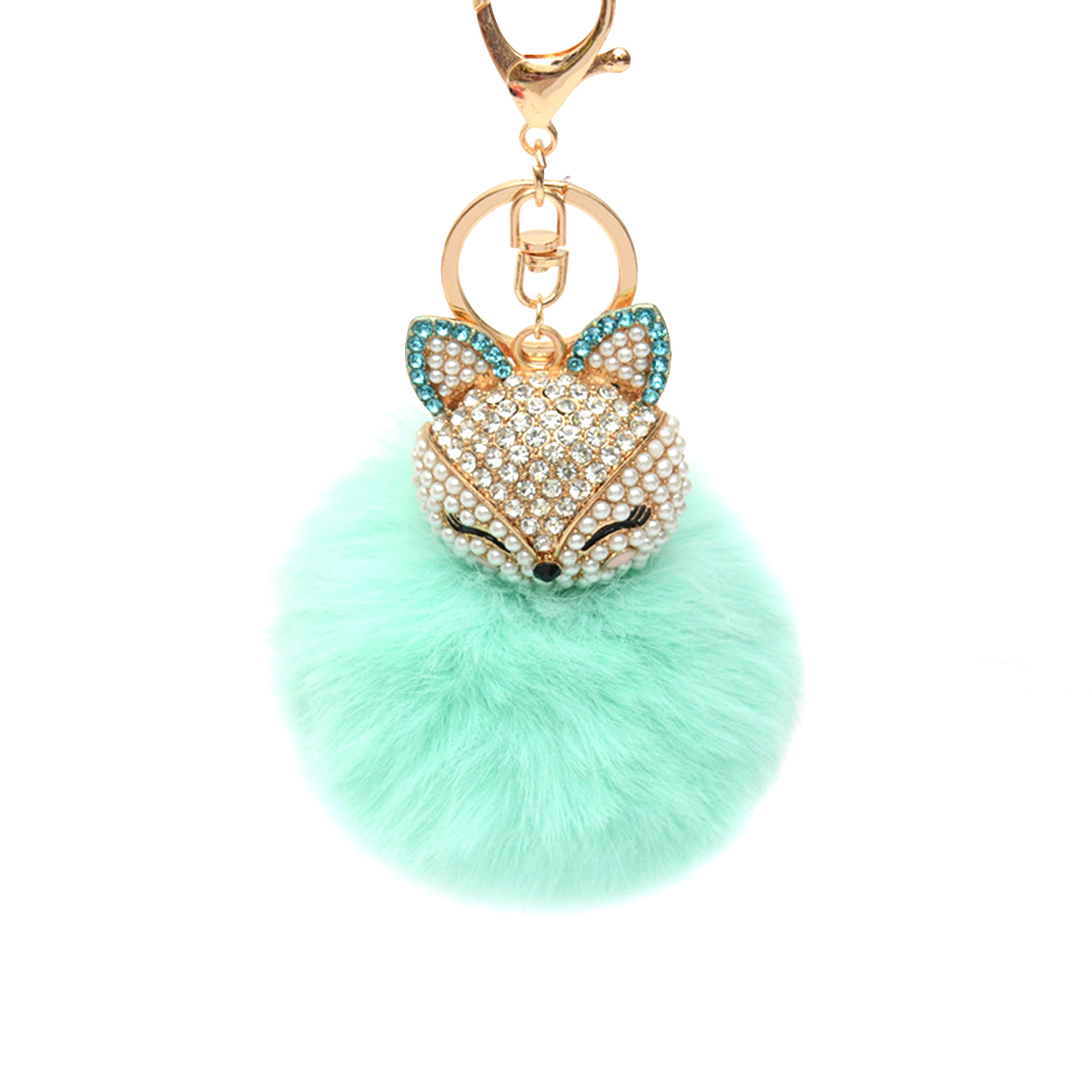 Fluffy Ball Keychain with Pearls Rhinestones Inlay Key Chain for Womens Bag / Cellphone / Car Pendant (Light Green)