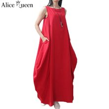 Alice Queen 2016 Linen Red White font b Maxi b font Vintage Casual Party font b