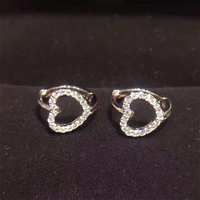 ANI 18k White Gold Women Circle Earrings Certified I S1 Natural Diamond Brinco Fashion Heart Shape