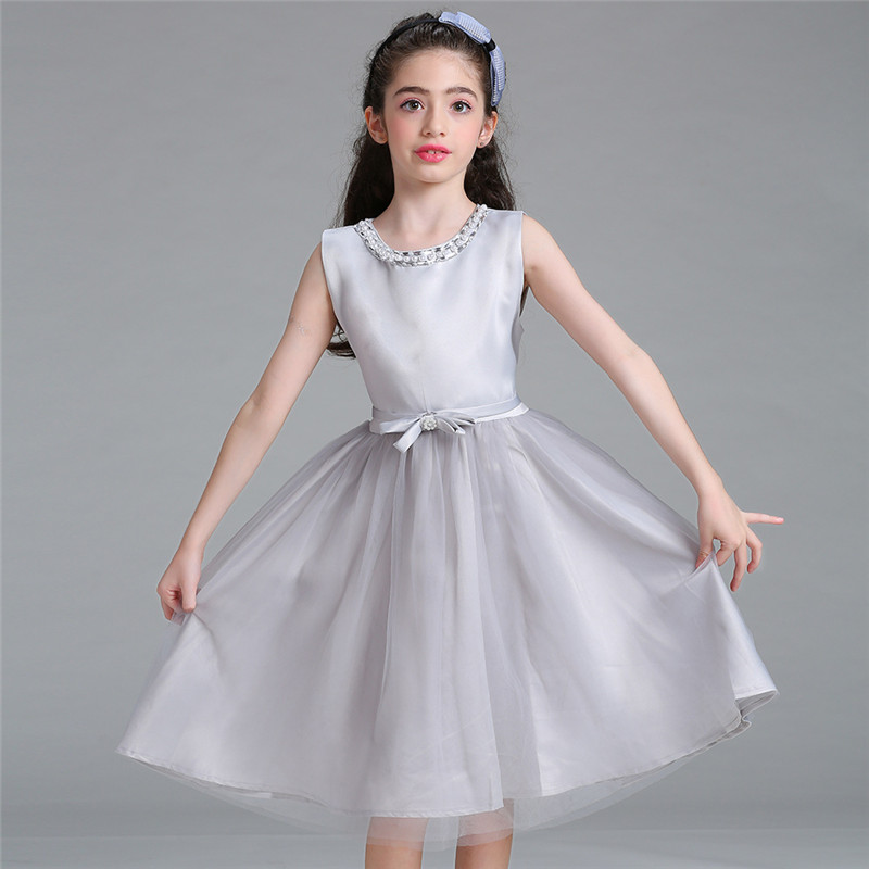 New Kids Wedding Summer Party Dresses For Girls Birthday Princess Gray Clothes Children Elegant Formal Vestido 4-12 Years 2017 new summer girls dress girls sleeveless dresses princess party kids clothes 3 12 years children birthday evening clothing
