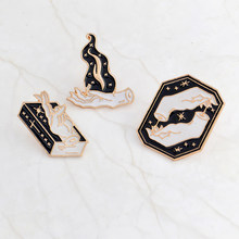 Dark Witch and Manual Flame Magic Gesture Book Brooch Enamel Denim Jacket Sweater Sweater Fashion Badge Gift(China)