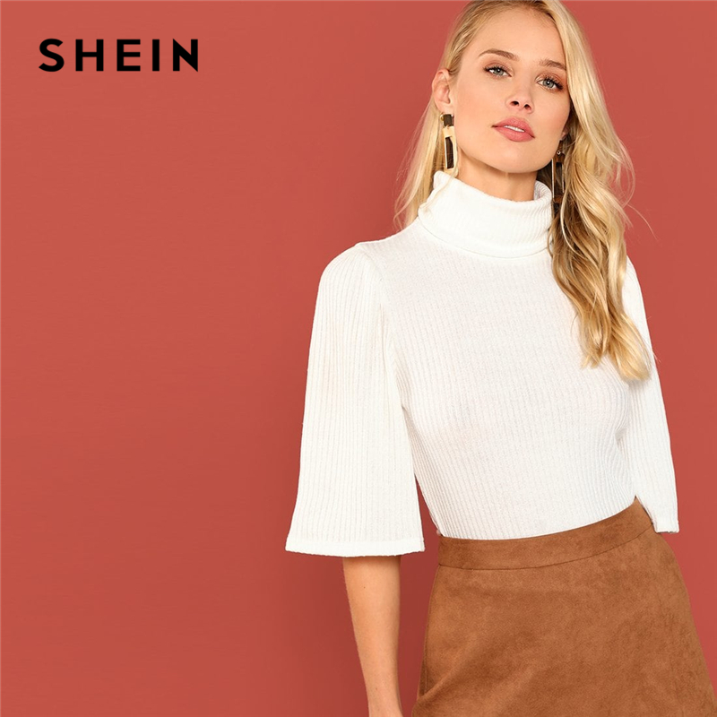 SHEIN White Three Quarter Length Sleeve High Neck Ribbed Knit Pullovers Slim Tee Autumn Office Lady Casual Women Tshirt Top