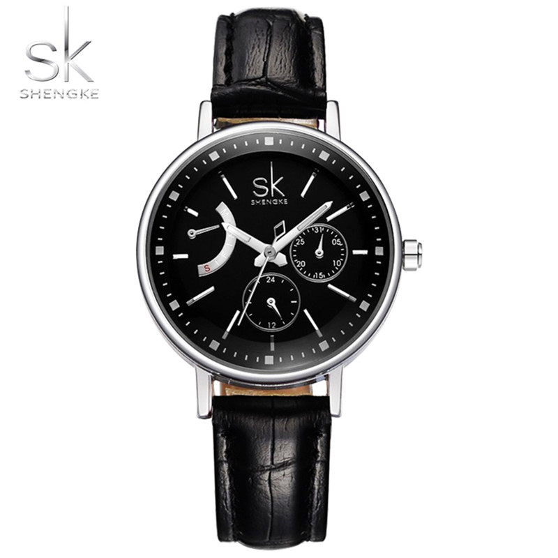 Shengke Top Brand Luxury Lady Relogio Feminino Women's Watch Personalized Dial Leather Strap  Leather Female Quartz Watch