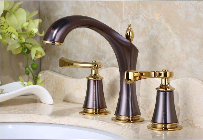 new arrival luxury top high quality brass material gold plating widespread basin faucet sink faucet,three pcs bathroom tap fashion high quality brass bathroom widespread basin faucet double handle gold plating sink faucet free shipping