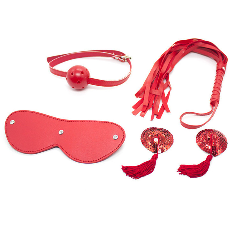 <font><b>4pcs</b></font>/<font><b>Set</b></font> Red PU Leather <font><b>Sex</b></font> <font><b>Toys</b></font> Bdsm Fetish Adult <font><b>Sex</b></font> Restraints Games Bondage Kit,Bdsm mask open mouth gag nipple clamps whips image