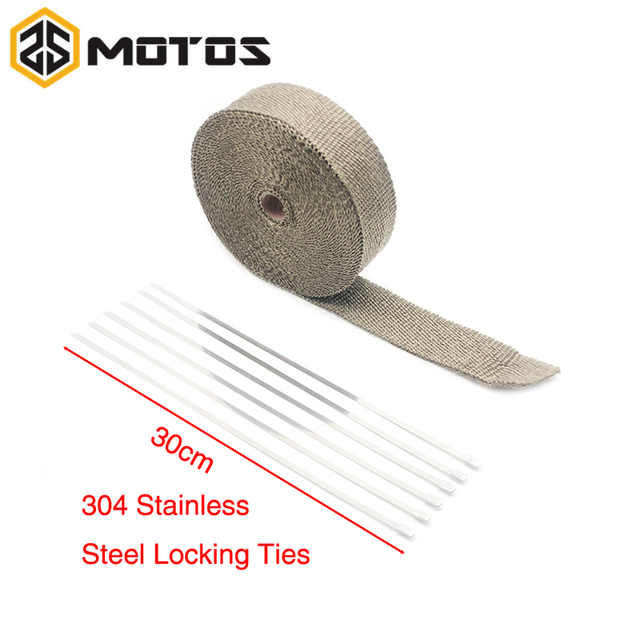 ZS MOTOS 5/10/15m Titanium/Black Fiberglass Exhaust Protection Pipe Heat  Header Insulation Tape Turbo Wrap -in Exhaust & Exhaust Systems from
