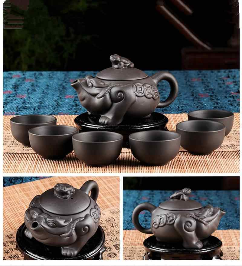 Yixing กาน้ำชาสีม่วงคางคกหม้อ 150 ml จีน Xi Shi ชุดเครื่องลายครามเซรามิคกบ Kung Fu Teaset