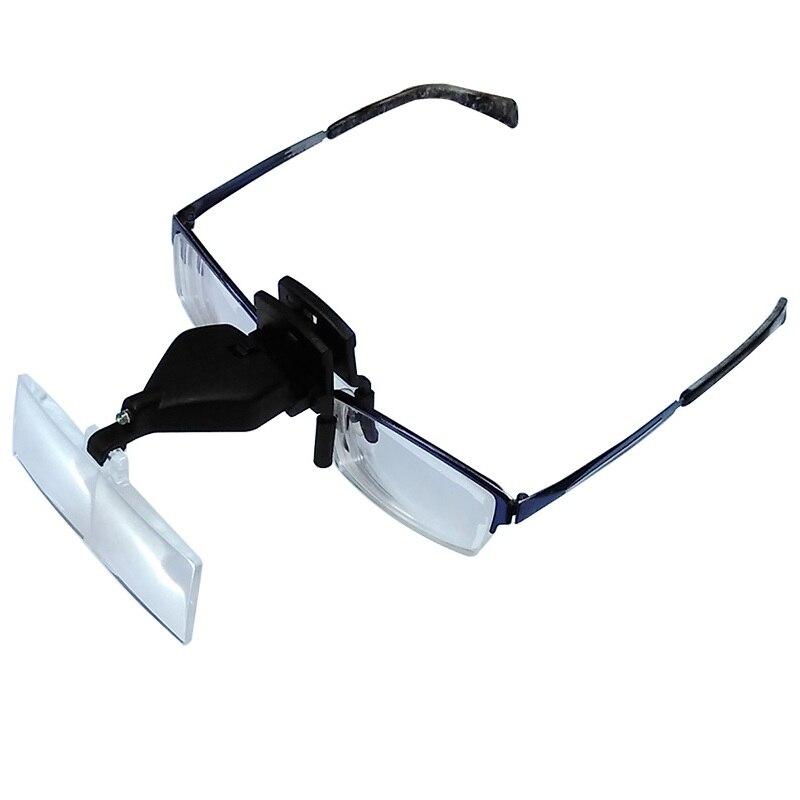 1.5X 2.5X 3.5X Óculos Clipe Magnifier Mãos Livres Cabeça Lupa com Luz LED e 3 Lente De Plástico Ajustável para o Reparo