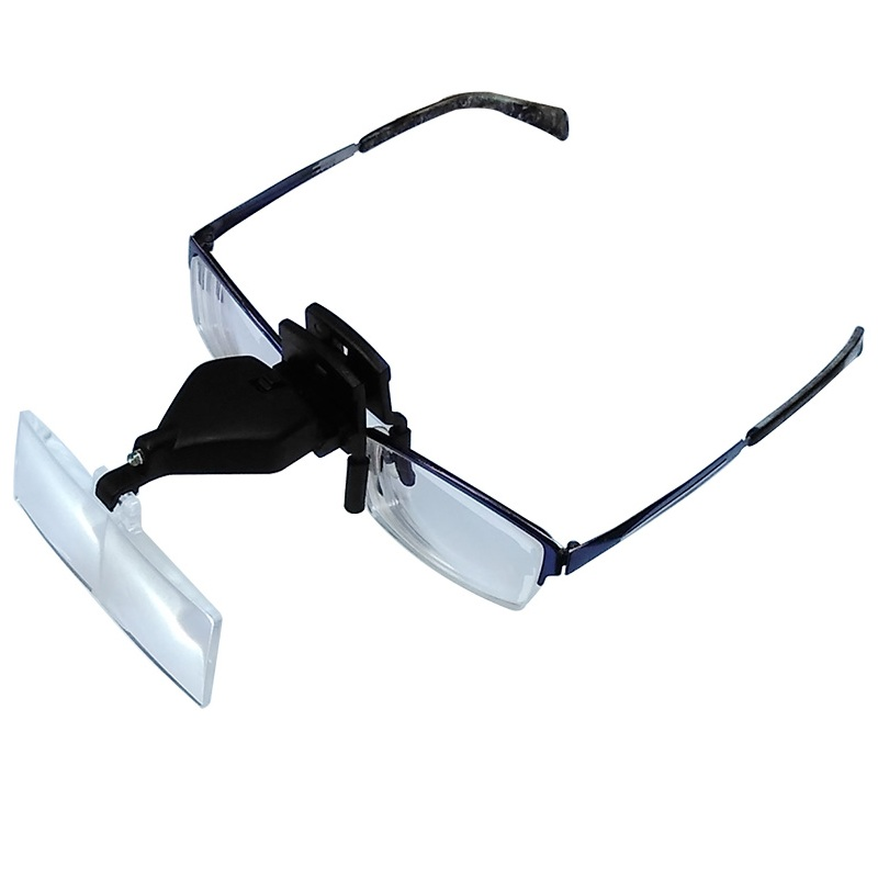 1.5X 2.5X 3.5X szemüveg klip nagyító kihangosító fejlámpa LED-es világítással és 3 állítható műanyag lencsével javítás céljából