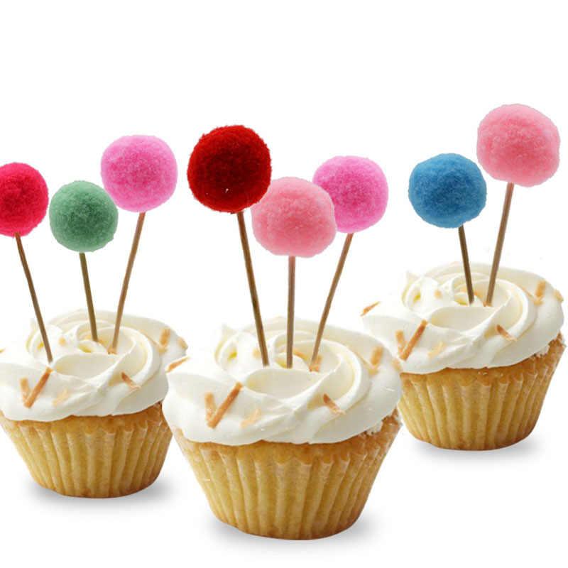 5 יחידות כדור קטיפה פרווה Cupcake עוגת טופר ססגוניות דגלי מקל עבור ילדים חתונת מסיבת יום הולדת עוגת אפיית אספקת קישוט