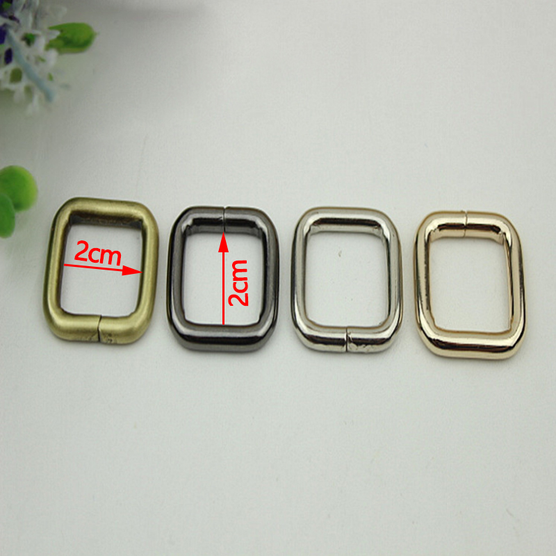 (30 Pcs/ Lot) 20mm Gold, Silver, Gun Black, Bronze Metal Square Buckles Loops Rings 2cm for Webbing Bag Strap DIY Craft 20 x 15 mm half roller buckles wire formed and belt loops silver 3 4 inch strap sliders