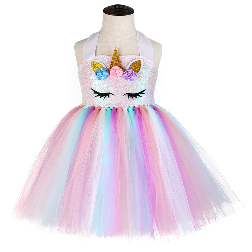 Pink Child Sequin Top Pony Unicorn Dress Pastel Girls Clothing Knee Length Unicorn Pattern Birthday Girl Party Dress Tutu Gowns (2)