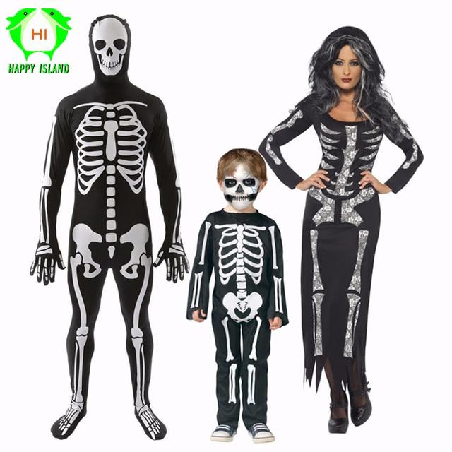 Adulti e Bambini di Scheletro di Carnevale di Halloween Del Partito di  Cosplay del Costume Delle Donne ... 2afe9928aef7