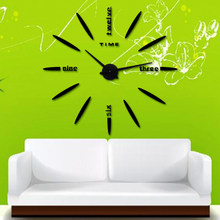3D large wall sticker Clock New Wall Clock Acrylic Metal Mirror Big Personalized decoration Wall Watches Free shipping(China)