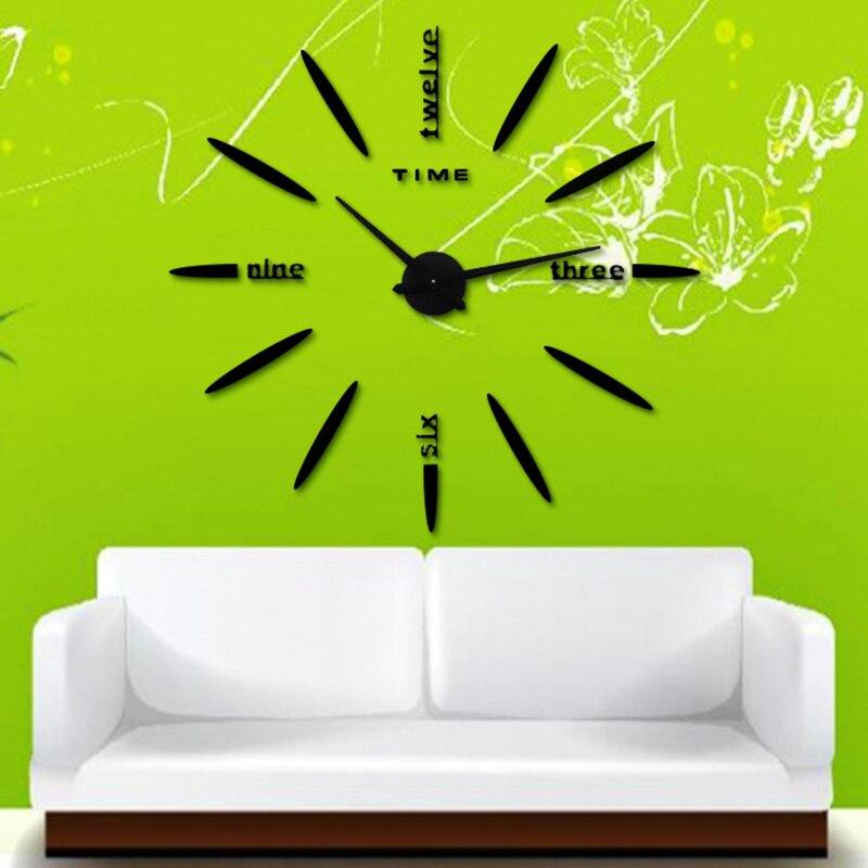 3D Besar Stiker Dinding Clock Jam Dinding Baru Akrilik Logam Cermin Besar  Dekorasi Pribadi Dinding Jam Tangan Gratis Pengiriman di Wall Clocks dari  Rumah ... 0c4f3ce375