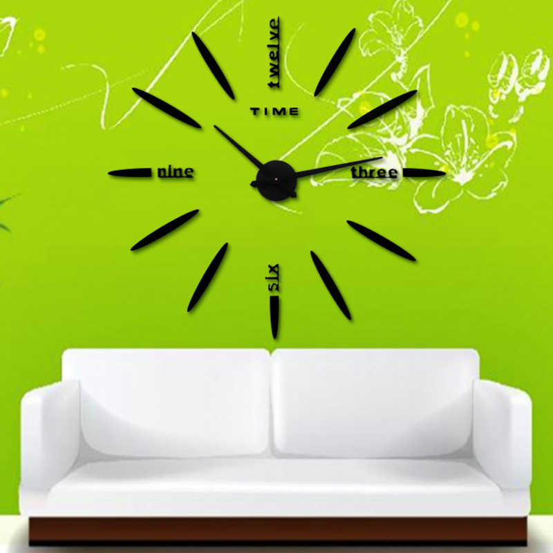 3D large wall sticker Clock New Wall Clock Acrylic Metal Mirror Big Personalized decoration Wall Watches Free shipping