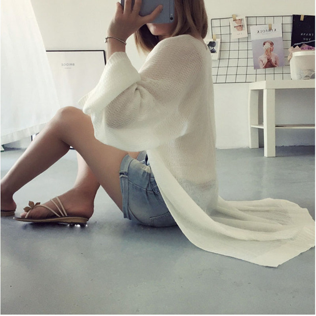 Long Fashion Summer Long Cardigan Sweaters Women Thin Woman Knitted Hollow Out Loose Cardigans Knitwear Open Stitch Causal Tops