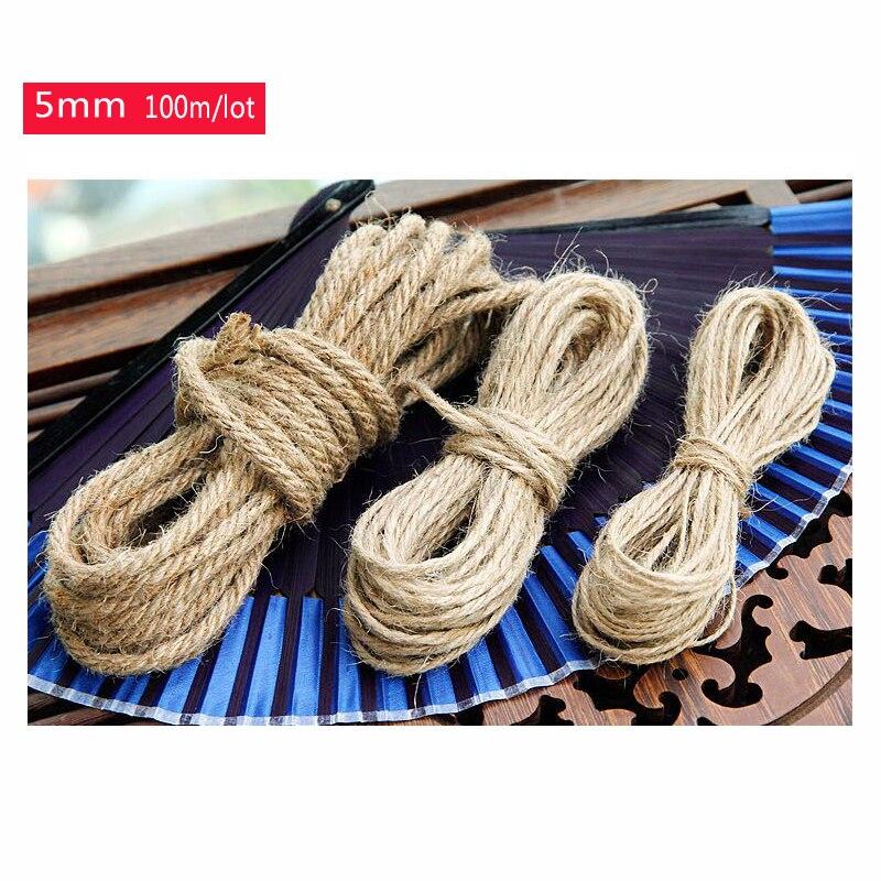 Wholesale(5mm,100m/lot) Diy Natural Hemp Rope cord,Flax Rope,Jute Cord,Hemp Twine,kraft string,Hang tag jute string