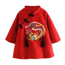 Детское утепленное платье с вышивкой зимнее красное Ципао для