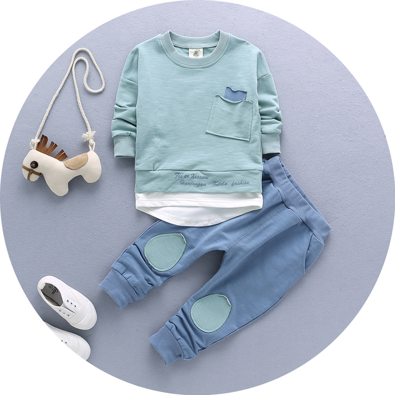 2017 Sale Infantis Children's Spring Autumn Cotton Boys Tops And Tees Long Sleeve T Shirt +pants 2pc/set ,kids Clothes 1-3year 2017 spring autumn 1 6t kids cotton long sleeve t shirt baby boys girls age number blouse tops children pullovers tee camiseta