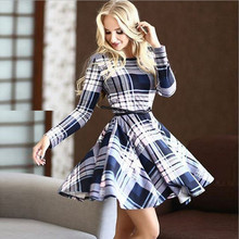 2016 summer new fashion women plaid printed dress casual o-neck Long sleeve tunic vintage dresses Ladies elegant dress plus size