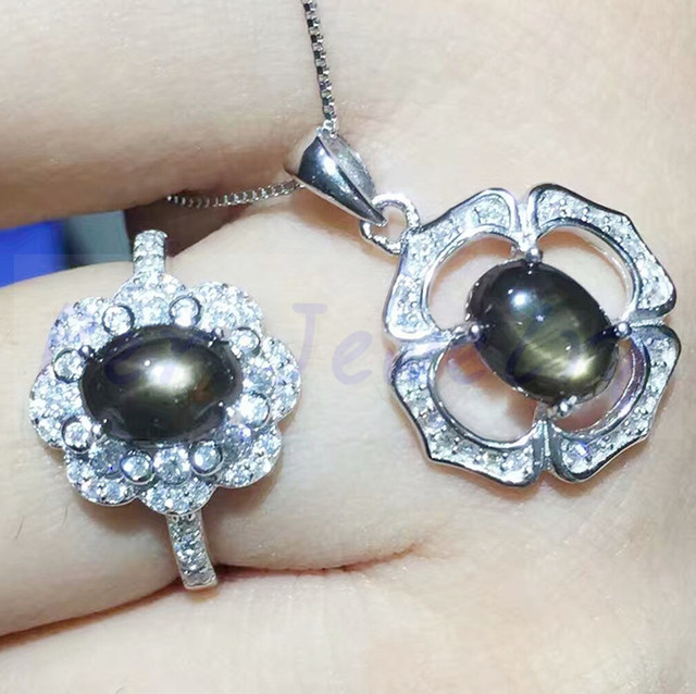 Natural sapphire jewelry set natural real star sapphire 925 sterling natural sapphire jewelry set natural real star sapphire 925 sterling silver 1pc pendant1pc ring mozeypictures Choice Image