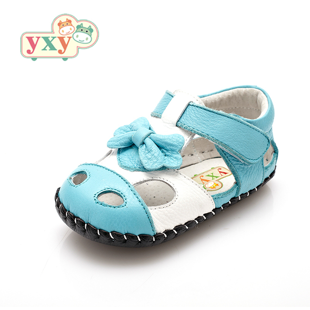 YXY Brand 2019 summer genuine leather Hollow BOW baby first walkers girls boys toddler hand-made Newborn sport shoes 1