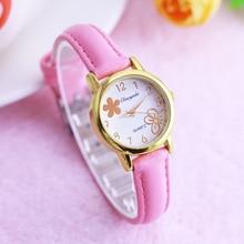 2019 известный бренд детей девочек женщин цветок клевера маленький кожаный кварцевые часы детей студенты мода часы день рождения подарки