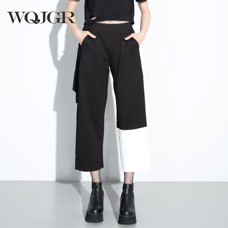 WQJGR 2017 Trousers Women Personality Asymmetry And Hit Color Joint Restore Ancient Ways Woman Wide Leg
