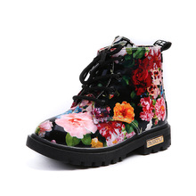 Girls Autumn Martin Boots Children Fashion Elegant Floral Flower Shoes Baby Boys Martin Boots Casual PU Leather Kids Boots