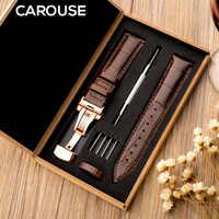 Bracelet de montre Carouse 18mm 19mm 20mm 21mm 22mm 24mm en cuir véritable veau bracelet de montre Alligator Grain bracelet de montre pour Tissot Seiko