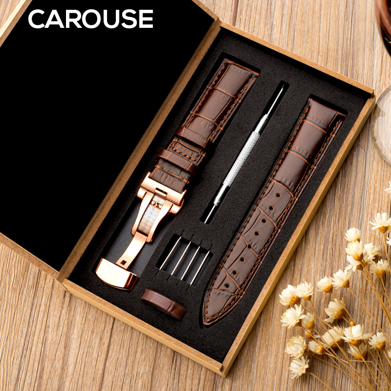 Carouse Watchband 18mm Alligator-Grain Seiko 21mm Tissot Genuine-Leather 22mm 24mm