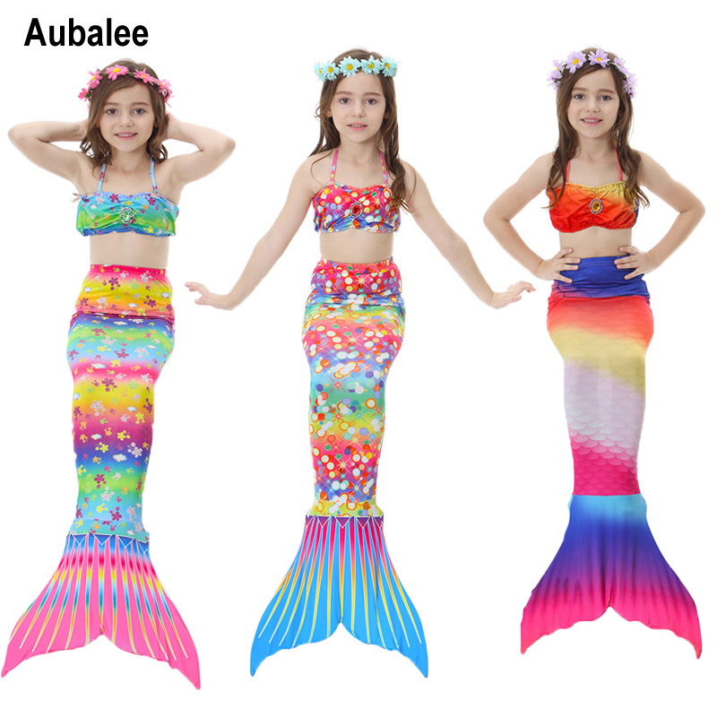 Aubalee Kids Girls Mermaid Costume For Swimming Beach