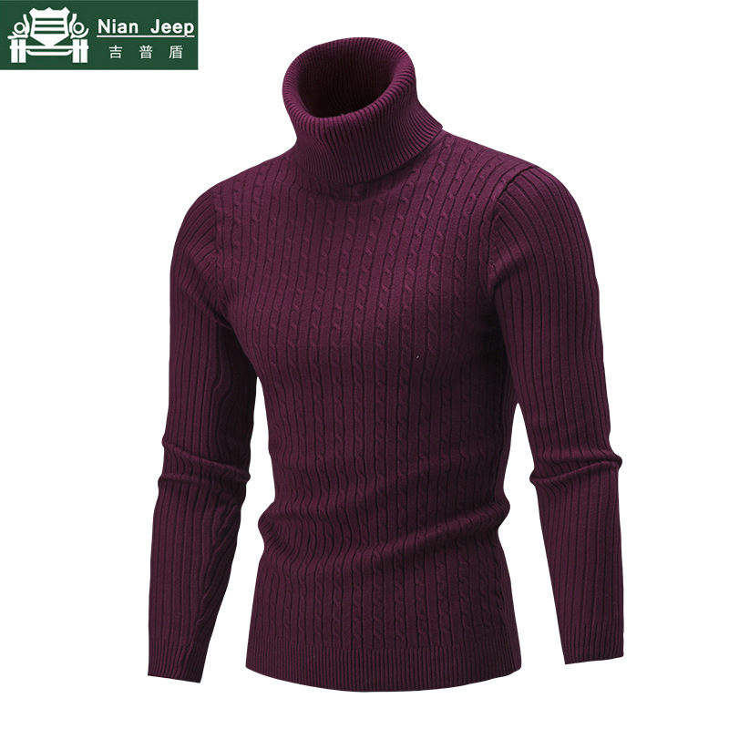 Brand Autumn Winter Men'S Sweater Men'S Turtleneck Solid Color Casual Sweater Men's Slim Fit Brand Knitted Pullovers Size M-3XL