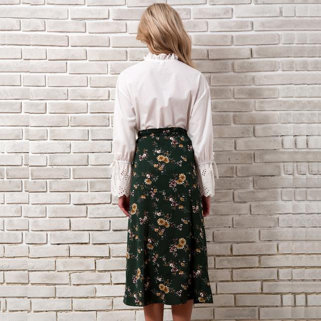 Bohemian Chiffon Skirt Women Spring Summer 2018 New Arrivals Floral Print Boho Skirts Ladies High Waist Midi Skirt Womens