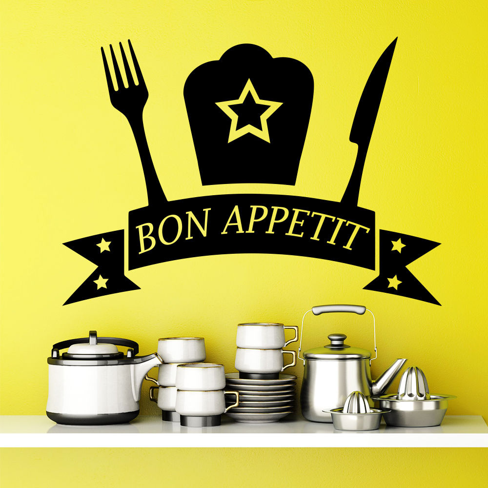Modern Stylish Wall Decal Quote Bon Appetit Decals Sticker Kitchen Decor Cafe Interior Design Art Dining Room Wall Mural LA753