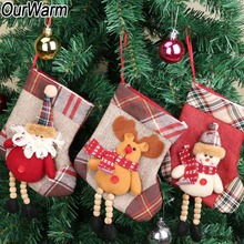 OurWarm Mini 3D Christmas Stockings with long Legs Santa Holder Gift Bag Claus Deer Sock Tree Ornaments Supplies