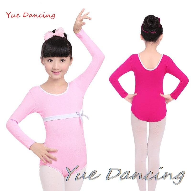 Pink/Rose/Purple/Blue Ballet Leotard Long Sleeve Gymnastics Leotard Cotton Ballet Clothes Children Dance Leotard Girls Dancewear
