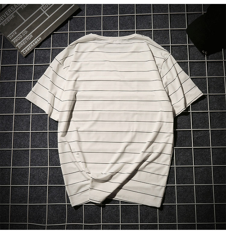 Summer T-shirt Men's Short-sleeved Fashionable Half-sleeved Round-collar Slim Men's Stripe Half-sleeved Clothes MW51 11