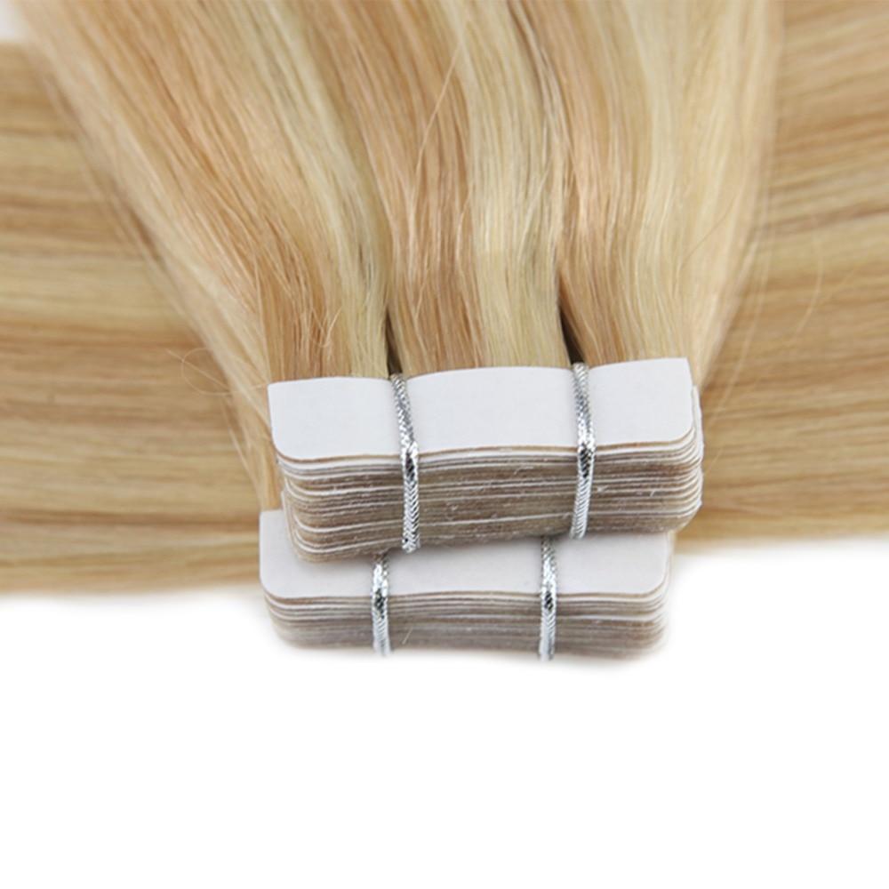 Moresoo человеческие волосы для наращивания лента в волосах подчеркивает цвет бразильские натуральные волосы с неповрежденной кутикулой для наращивания #16 изюминка с блондином - 6