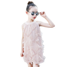 Princesa elegante borla rosa de encaje vestido de 4-14 Niñas Ropa de verano ropa  de niños los niños 2019 nuevo gran chicas playa. ae22c619664