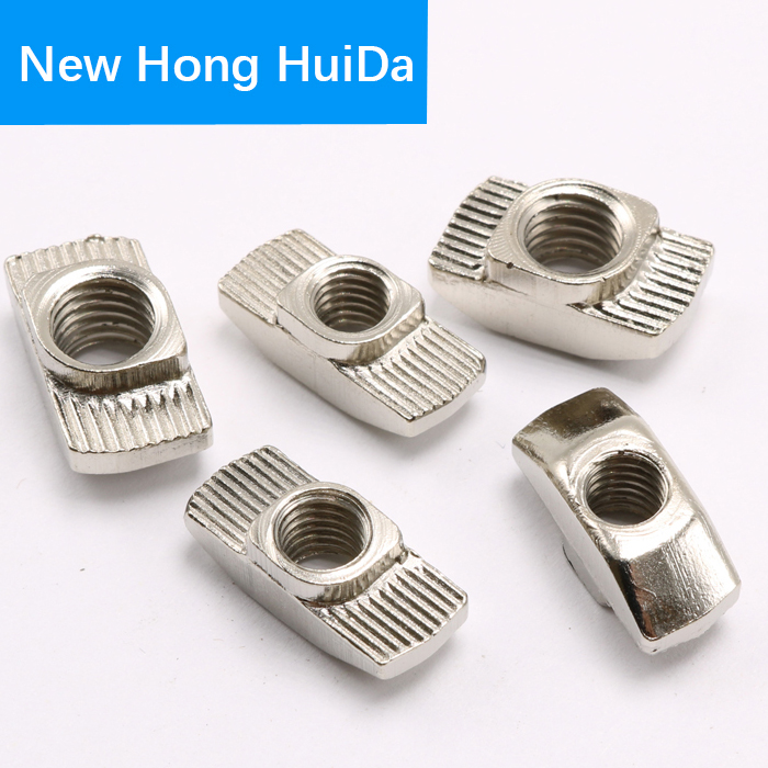 M3/M4/M5*10*6 Hammer Nut Aluminum Connector T Fastener Sliding Nut Nickel Plated Carbon Steel for 2020 Aluminum Profile 10pcs m3 round aluminum alloy long nut studs standoffs fastener 8 10 15 20 25 30 35mm