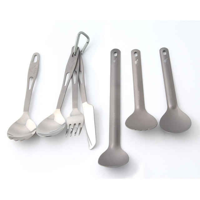 TOAKS Ultralight Titanium Tableware Outdoor Flatware Cutlery Fork and Spoon
