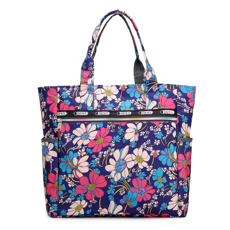 2018 New Fashion Women Handbag Nylon Floral Printing Shoulder Beach Bags Casual Female Flowers Tote Shopping Bag Bolsa Feminina qicai yanzi 2017 new lunch bags pouch storage box flowers insulated thermal cooler bag picnic tote bolsa termica lancheira n563