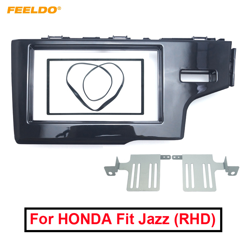 FEELDO Car 2Din Stereo Radio Dash Panel Fascia Frame For HONDA Fit Jazz (RHD) 2013+ DVD/CD Frame Installation Trim Kit #4945-in Fascias from Automobiles & Motorcycles    1