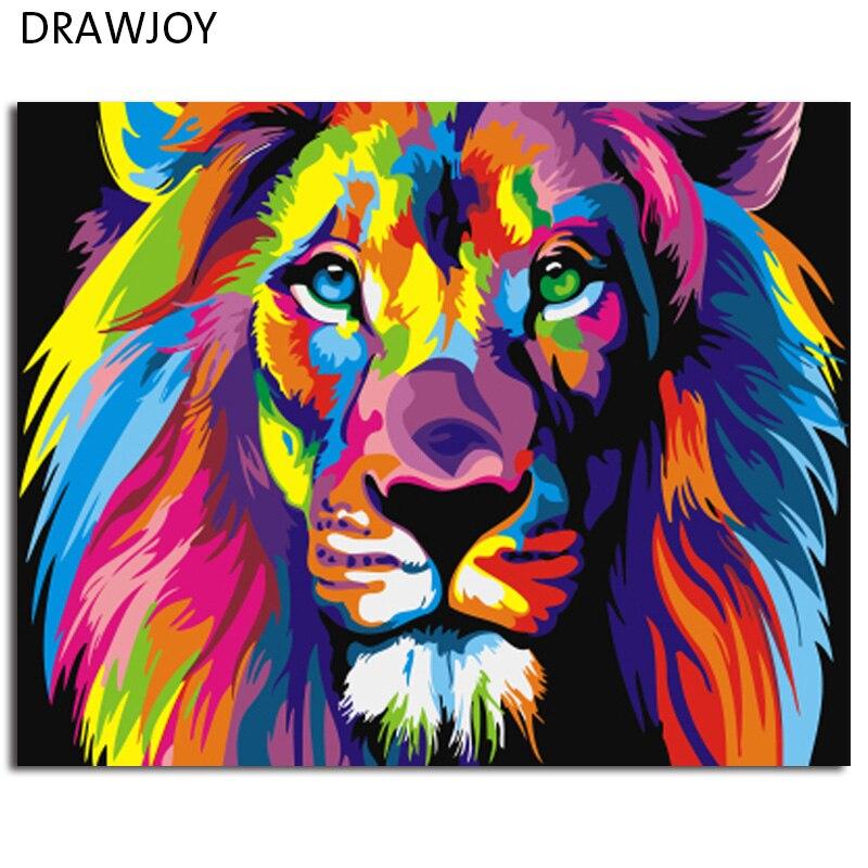 Bunte Abstrakte Lion Gerahmtes Bild Malerei & Kalligraphie DIY Malen Nach Zahlen Färbung Durch Zahlen GX8999 40*50 cm