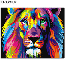 Colorful Abstract Lion Framed Picture Painting & Calligraphy DIY Painting By Numbers Coloring By Numbers GX8999 40*50cm(China)
